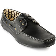 Foot n Style Faux Leather Black Loafers Shoes -fs3109