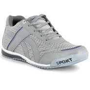 Foot n Style Synthetic Leather Sports Shoes FS 478 -Grey & White