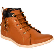 Foot n Style Synthetic Leather Tan Sneaker -fs651
