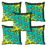 Set of 5 meSleep Digitally Printed Firozi Cushion Cover-meSleep-Firozi