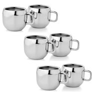Mosaic Set of 6Pcs Qute Tea Cup Set - Silver