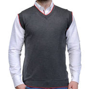 Oh Fish Plain Sleeveless V Neck Sweater For Men_Sdgry1 - Dark Grey