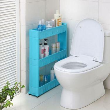 Kawachi Multipurpose Removable 3 Layer Plastic Storage Rack Kitchen & Bathroom Gap Commodity Shelf