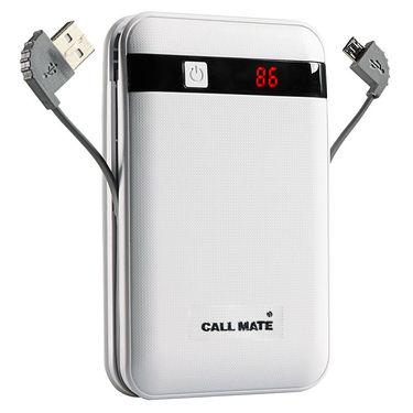Callmate Power Bank Black Border in Built Charging Cable 13000 mAh - White