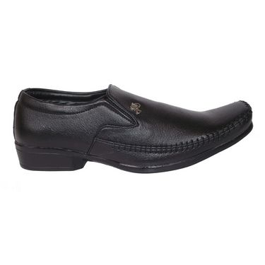 Branded Micro Leather Formal Shoes 111Q -Black