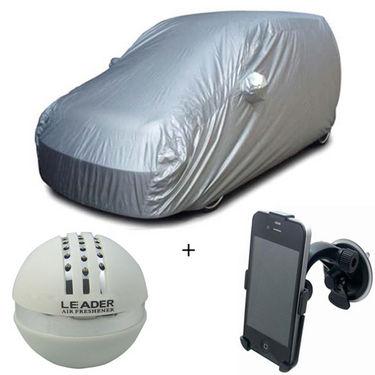 Combo of Hyundai i10 Car Body Cover + Car Perfume For Dashboard + Car Mobile Phone Holder