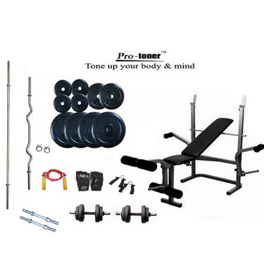 Protoner Weight Lifting Package 42 Kg + Imported Protoner Multipurpose Weight Bench (3 Level Incline, Dumbbell Fly & Leg Raise)