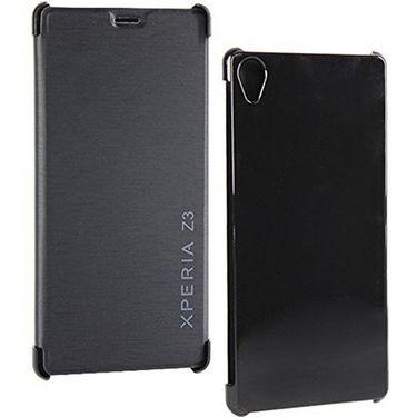 FlashmobPremium Satin Finish Flip Cover For Sony Xperia Z3 - Black