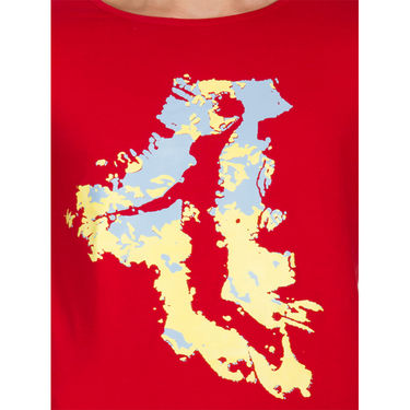 Incynk Half Sleeves Printed Cotton Tshirt For Men_Mht202r - Red