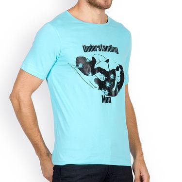 Incynk Half Sleeves Printed Cotton Tshirt For Men_Mht206aq - Aqua