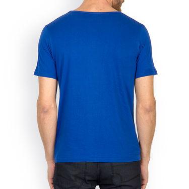 Incynk Half Sleeves Printed Cotton Tshirt For Men_Mht208b - Blue