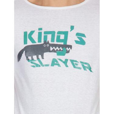 Incynk Half Sleeves Printed Cotton Tshirt For Men_Mht211wht - White