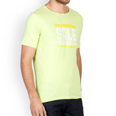 Incynk Half Sleeves Printed Cotton Tshirt For Men_Mht215p - Pista