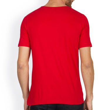 Incynk Half Sleeves Printed Cotton Tshirt For Men_Mht217r - Red
