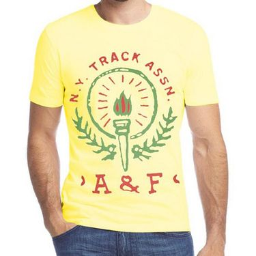Branded Half Sleeves Printed Cotton T shirt For Men_Afyt - Yellow