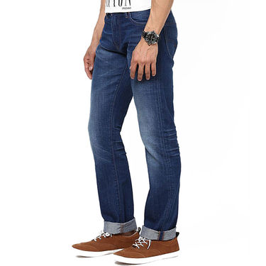 Levis Slim Fit Cotton Jeans For Men 504 Blue