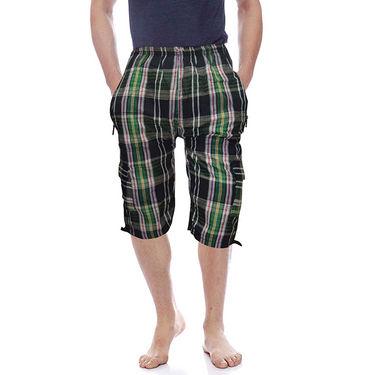 Delhi Seven Cotton Checks Capri For Men_D7Cg05 - Multicolor