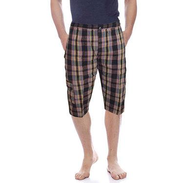 Delhi Seven Cotton Checks Capri For Men_D7Cg011 - Multicolor