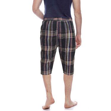 Delhi Seven Cotton Checks Capri For Men_D7Cg022 - Multicolor