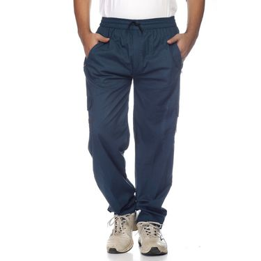 Delhi Seven Cotton Plain Lower For Men_Mumpj020 - Sea Blue