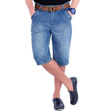 Uber Urban Regular Fit Cotton Capri For Men_Mndltblu - Light Blue