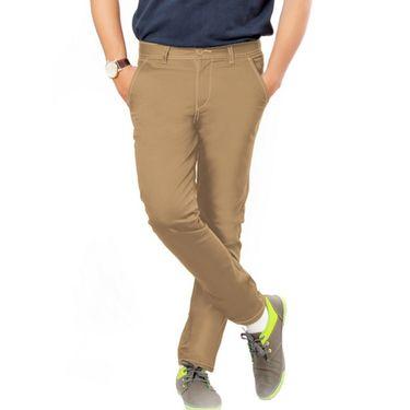 Uber Urban Regular Fit Cotton Chinos For Men_1435Khk - Beige
