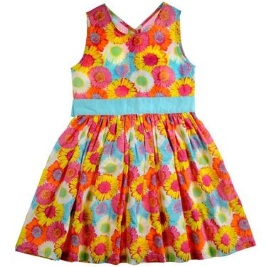 ShopperTree Yellow and Blue Cambric Print Dress