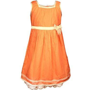 ShopperTree Sleeveless Orange Pleated Frock_ST-1428