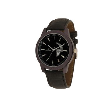 Dezine Round Dial Leather Wrist Watch For Men_1011blkblk - Black