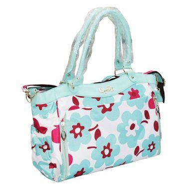 Wonderkids Blue Flower Print Fancy Baby Diaper Bag_BK-1245-BFDB