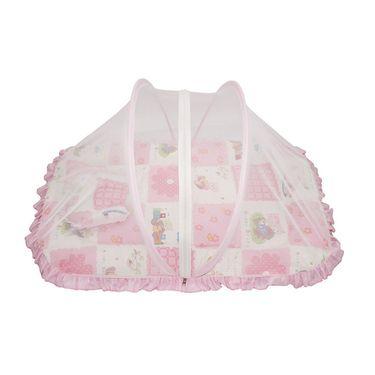 Wonderkids Pink Flower Print Baby Bedding Set With Mosquito Net_MW-182-PFBMS