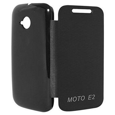 Flashmob Premium Satin Finish Flip Cover For Moto E 2 - Black