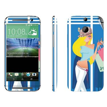 Snooky 38951 Digital Print Mobile Skin Sticker For HTC One M8 - Blue