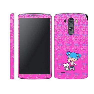 Snooky 39183 Digital Print Mobile Skin Sticker For LG G3 - Pink