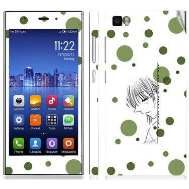 Snooky 39189 Digital Print Mobile Skin Sticker For Xiaomi Mi3 - White