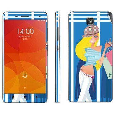 Snooky 39203 Digital Print Mobile Skin Sticker For Xiaomi Mi4 - Blue