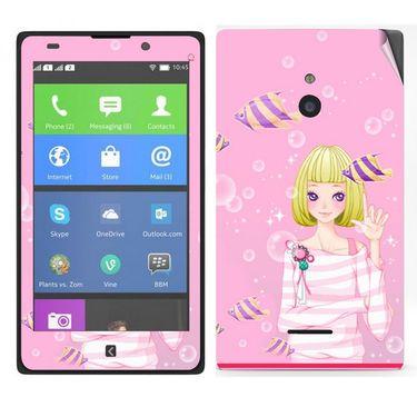 Snooky 39312 Digital Print Mobile Skin Sticker For Nokia XL - Pink