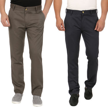 Pack of 2 Blimey Slim Fit Cotton Chinos_Bf24 - Dark Grey & Black