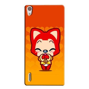 Snooky 38361 Digital Print Hard Back Case Cover For Huawei Ascend P7 - Orange
