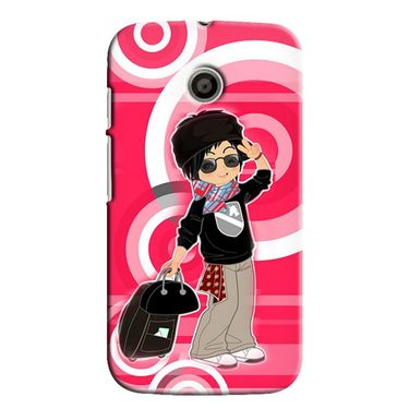 Snooky 35809 Digital Print Hard Back Case Cover For Motorola Moto E - Rose Pink