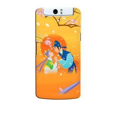 Snooky 36718 Digital Print Hard Back Case Cover For Oppo N1 - Orange