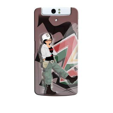 Snooky 36728 Digital Print Hard Back Case Cover For Oppo N1 - Brown