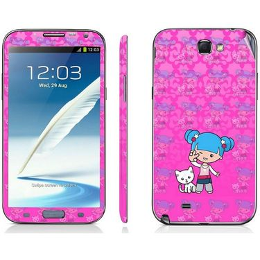 Snooky 39471 Digital Print Mobile Skin Sticker For Samsung Galaxy Note 2 N7100 - Pink