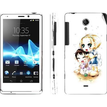 Snooky 39709 Digital Print Mobile Skin Sticker For Sony Xperia T Lt30p - White