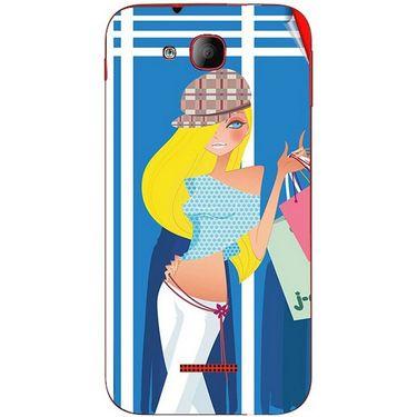 Snooky 41937 Digital Print Mobile Skin Sticker For Intex Aqua Curve Mini - Blue