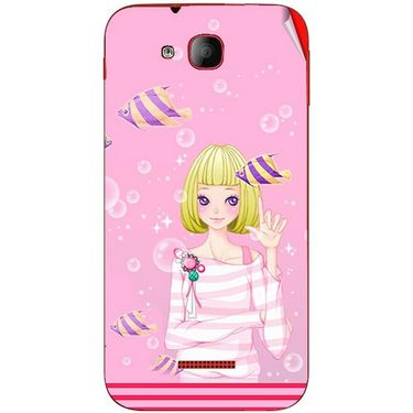 Snooky 41938 Digital Print Mobile Skin Sticker For Intex Aqua Curve Mini - Pink