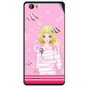 Snooky 41949 Digital Print Mobile Skin Sticker For Intex Aqua Desire - Pink