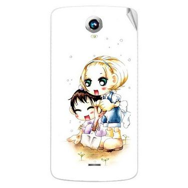 Snooky 42013 Digital Print Mobile Skin Sticker For Intex Aqua i6 - White