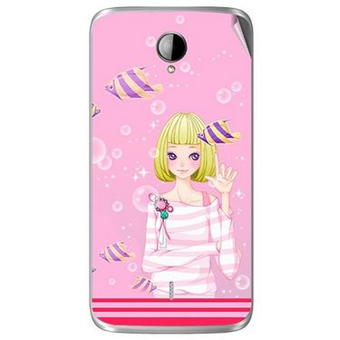Snooky 42015 Digital Print Mobile Skin Sticker For Intex Aqua i14 - Pink