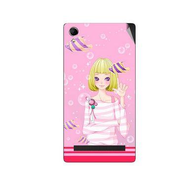 Snooky 42114 Digital Print Mobile Skin Sticker For Intex Aqua Power Plus - Pink